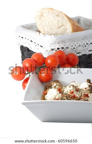 Cheese with tomatos and Baguette - stock photo