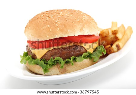 Cheeseburger and fries - stock photo