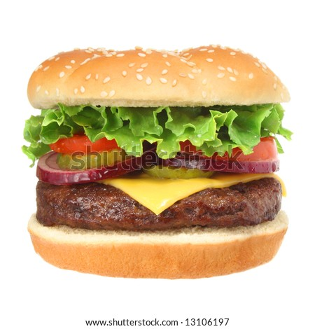 Cheeseburger hamburger isolated on white. Fast food & barbecue collection.