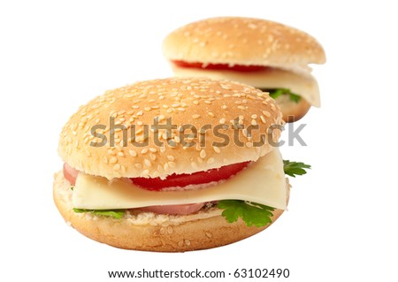 cheeseburger, hamburger on a white background
