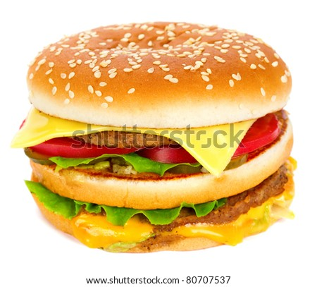 cheeseburger isolated on white - stock photo