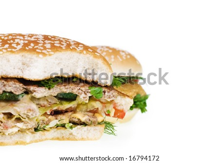 Cheeseburger isolated on white background