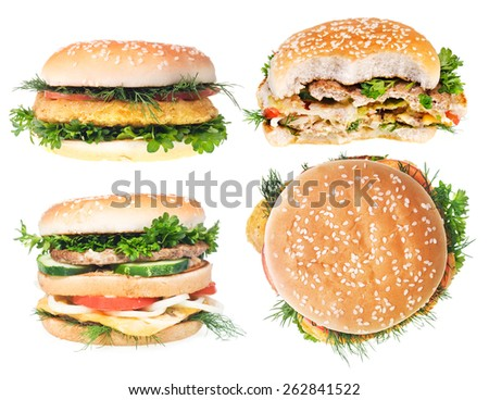 Cheeseburger isolated on white background.