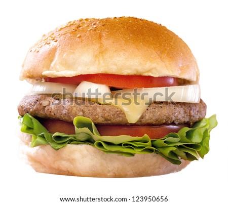 Cheeseburger isolated on white background. Studio shot - stock photo