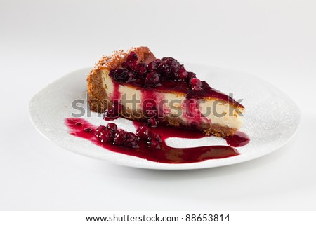 Cheesecake Slice with Soft Fruits - stock photo