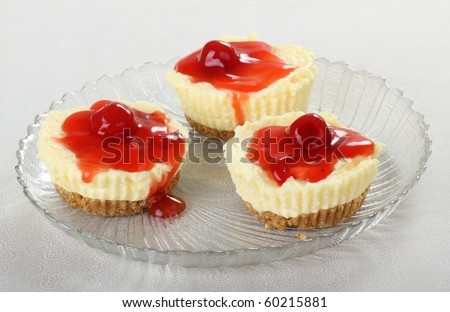 Cheesecake topped with juicy cherries on a plate - stock photo