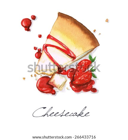 Cheesecake - Watercolor Food Collection - stock photo