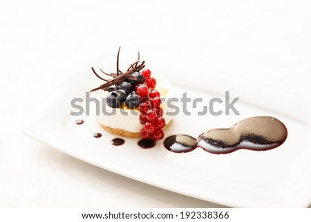cheesecake with berries - stock photo