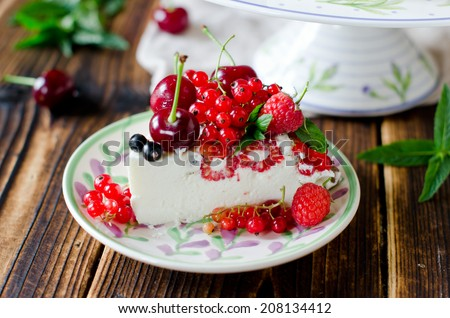 Cheesecake with berries. selective Focus