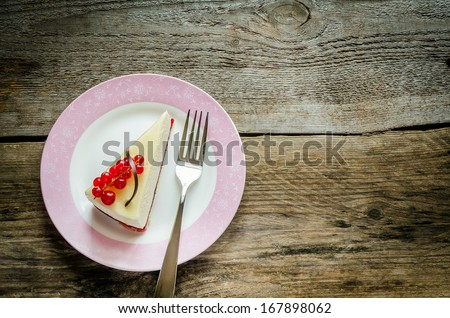 Cheesecake with redcurrant - stock photo