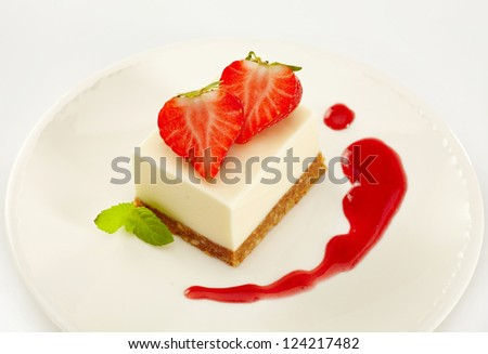 cheesecake with strawberries - stock photo