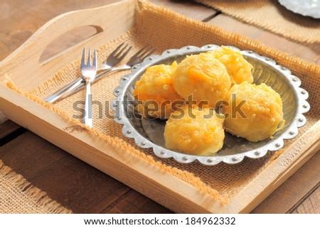 Cheesy potato and tuna fish balls - stock photo