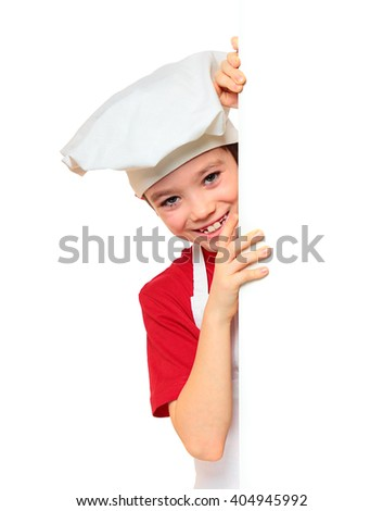 Chef boy looking from behind the wall isolated on white background   - stock photo