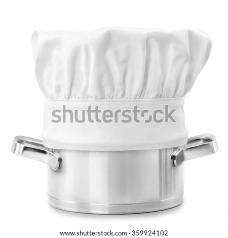 chef cap with stainless steel cooking pot isolated on white background - stock photo