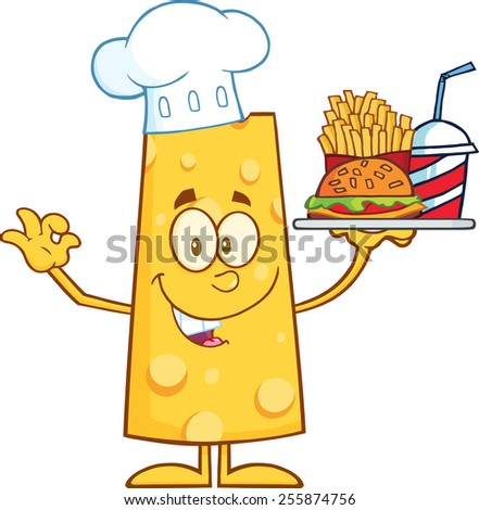 Chef Cheese Cartoon Character Holding A Hamburger With Drink And French Fries. Raster Illustration Isolated On White - stock photo