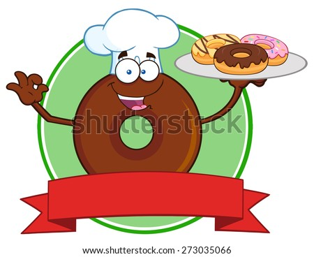 Chef Chocolate Donut Cartoon Character Serving Donuts Circle Label. Raster Illustration Isolated On White - stock photo
