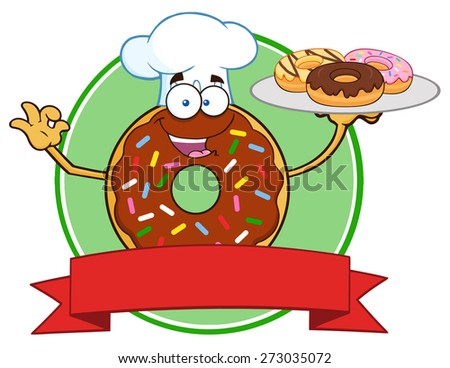 Chef Chocolate Donut Cartoon Character With Sprinkles Serving Donuts Circle Label. Raster Illustration Isolated On White - stock photo