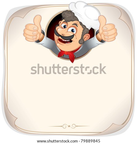 Chef Cook showing thumb up, Blank Menu Template