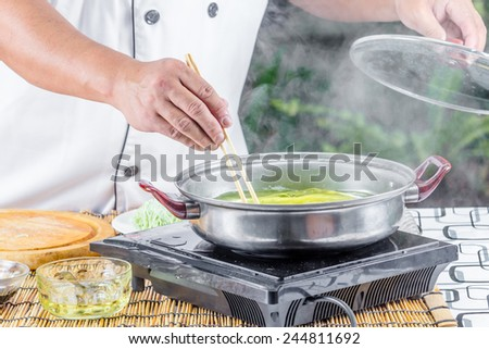 chef cooking for asian food menu name noodle
