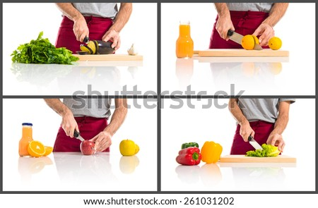 Chef cutting vegetables - stock photo