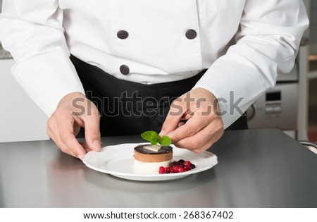 Chef decorating a homemade mousse with berries - stock photo