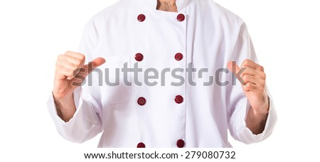 Chef doing surprise gesture over white background - stock photo