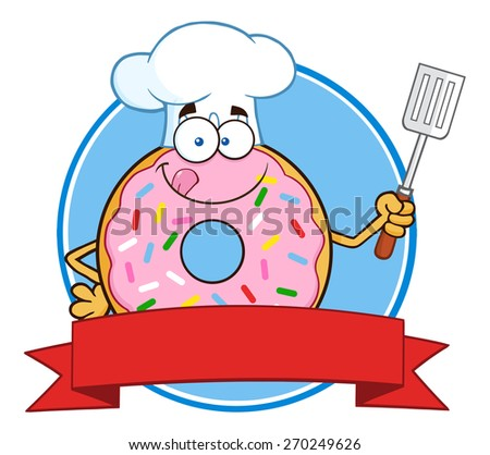 Chef Donut Cartoon Character With Sprinkles Circle Label. Raster Illustration Isolated On White - stock photo