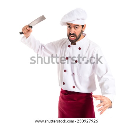 Chef fighting with knives - stock photo
