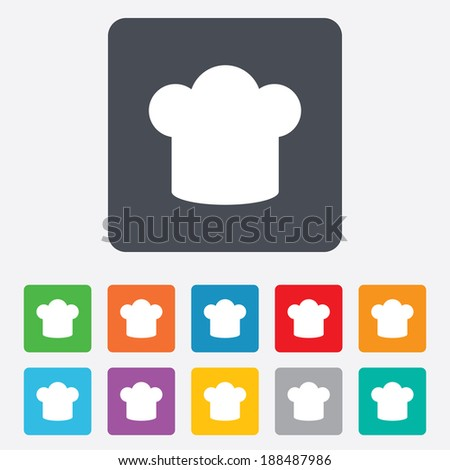 Chef hat sign icon. Cooking symbol. Cooks hat. Rounded squares 11 buttons.