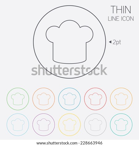 Chef hat sign icon. Cooking symbol. Cooks hat. Thin line circle web icons with outline.