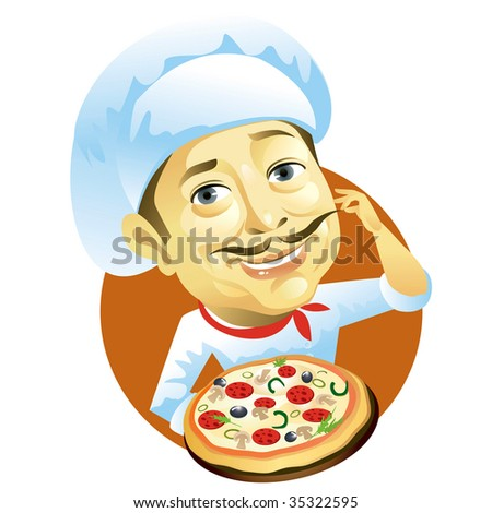 Chef holding pizza - stock photo