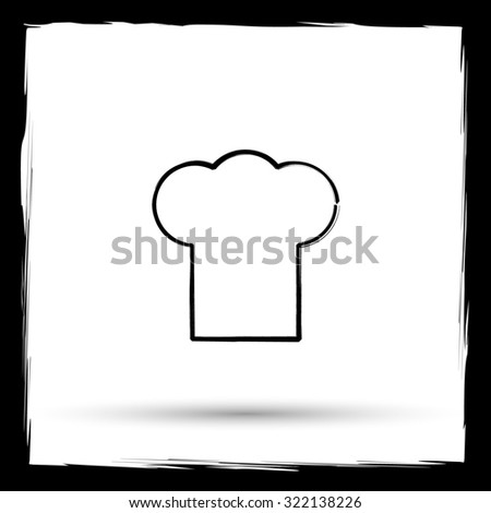 Chef icon. Internet button on white background. Outline design imitating paintbrush.