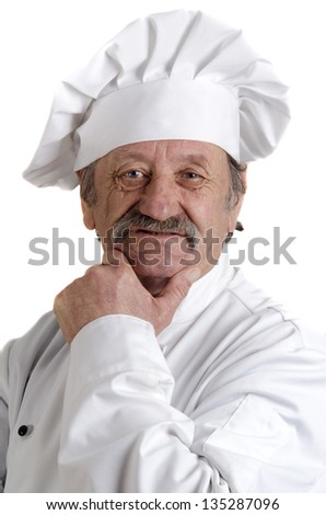 chef in his 50's with white working uniform