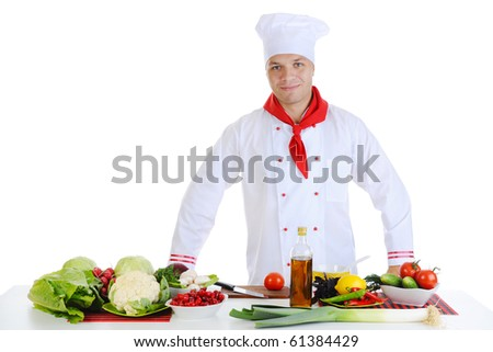 Chef in uniform at restaurant. Isolated on white - stock photo