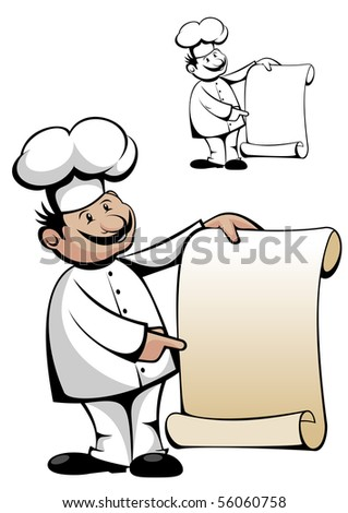 Chef in uniform with menu isolated on white - also as emblem. Vector version also available in gallery in gallery - stock photo