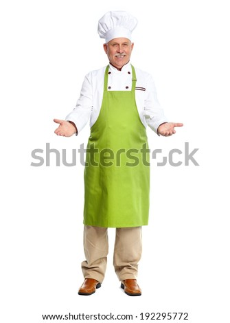 Chef inviting in restaurant. Isolated over white background - stock photo