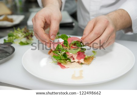 Chef is cooking appetizer on professional kitchen
