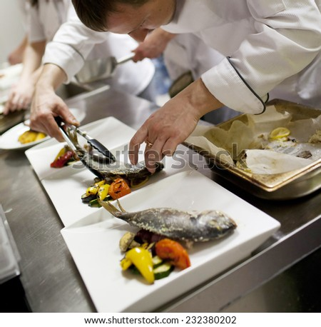 Chef is decorating delicious dish - stock photo