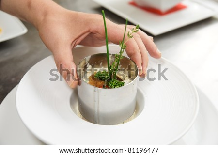 Chef is serving risotto with stainless steel form - stock photo
