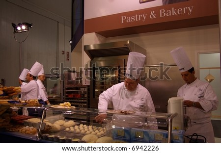 Chef making baked food - stock photo