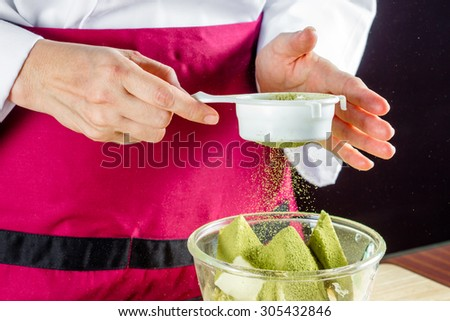 chef making homemade green tea lava cakes/Cooking bakery concept