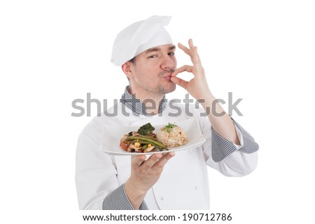 Chef making OK gesture after tasteful food. Isolated on white background - stock photo