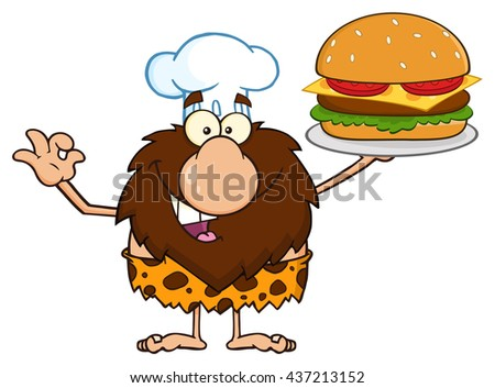 Chef Male Caveman Cartoon Mascot Character Holding A Big Burger And Gesturing Ok. Raster Illustration Isolated On White Background - stock photo