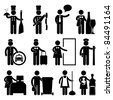 Chef Manager Waiter Butler Taxi Driver Bellman Receptionist Security Guard Cashier Cleaner Maid Babysitter Nanny Job Occupation Sign Pictogram Symbol Icon Job Occupation Sign Pictogram Symbol Icon - stock photo