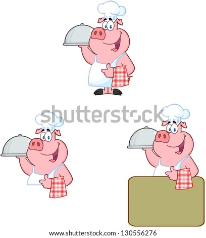 Chef Pig. Raster Collection - stock photo