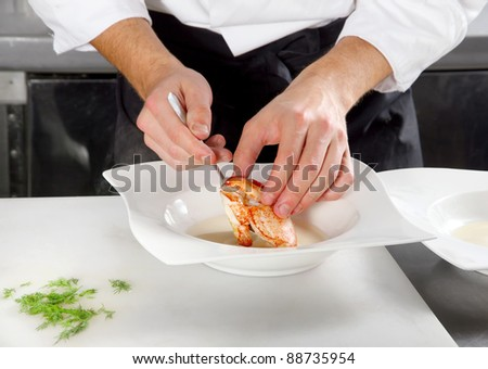 Chef prepared lobster meat in plate