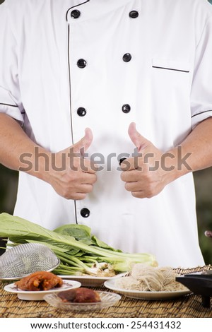 Chef prepared noodle ingredient / Cooking Noodle concept  - stock photo