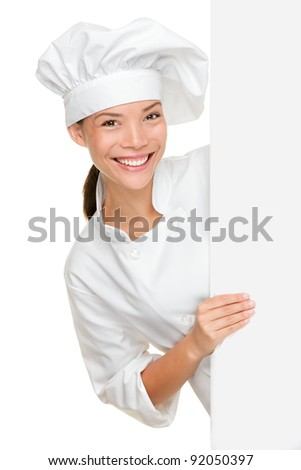 Chef showing blank sign. Woman chef, baker or cook smiling happy holding blank white paper sign isolated on white background. Beautiful young mixed race Asian Caucasian female model. - stock photo