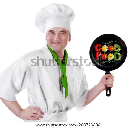 Chef showing empty pan  isolated on white