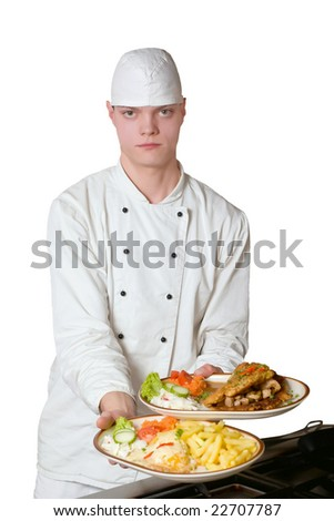 Chef that the holds plate with food on white background